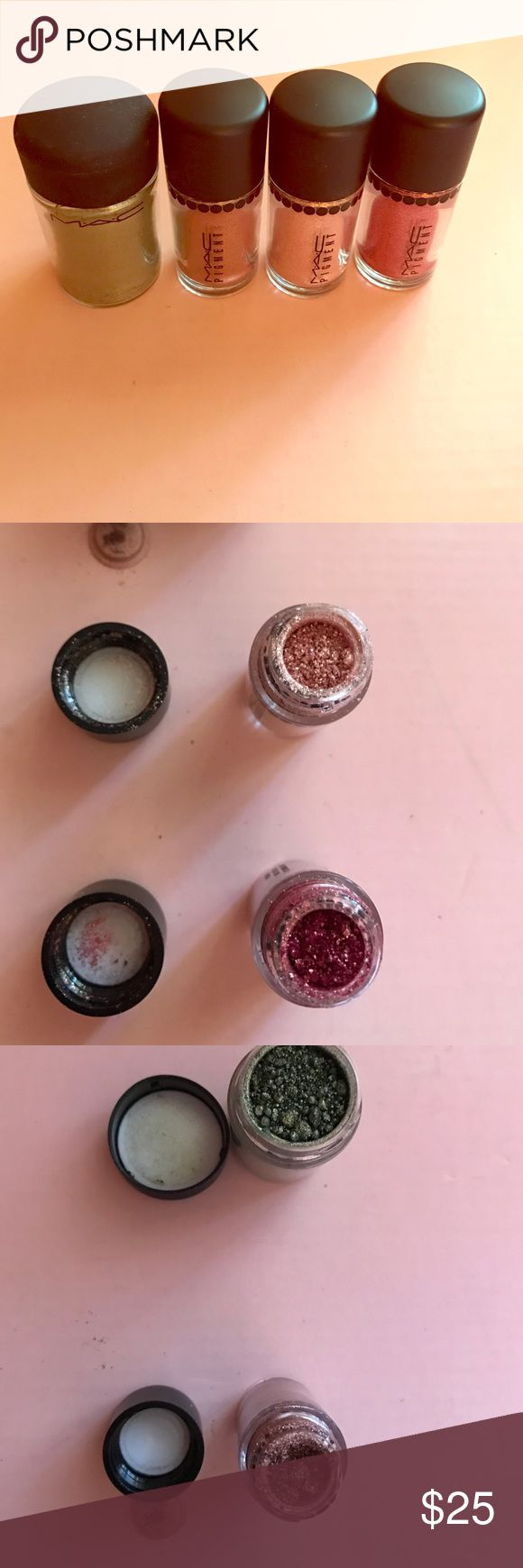 Three MAC Cosmetic pigments Three MAC Cosmetics pigments. They are in golden olive, tan, rose and whisper pink. MAC Cosmetics Makeup Eyeshadow