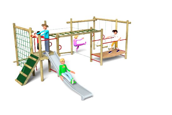 Lavenham 2 playground equipment is comprised of a timber platform with a vertical climbing net, swinging logs, clamber ramp, climbing rope, ladder, trapeze rings, suspsension bridge, slide and rope walks. Find out more here: http://www.actionplayandleisure.co.uk/lavenham-2/