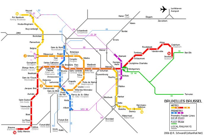 the story of urban rail systems in brussels with detailed map and numerous colour photos