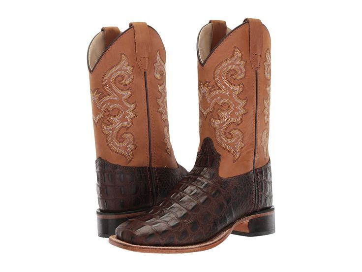 Old West Kids Boots Brown Croc Print Square Toe Boot (Toddler/Little Kid) Cowboy Boots Brown