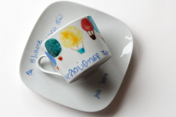 Custom hand-painted cup porcelain cup of by NataliesWunderland