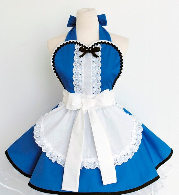 Alice in Wonderland Apron Blue/Red by OliviasStudio on Etsy, $67.00