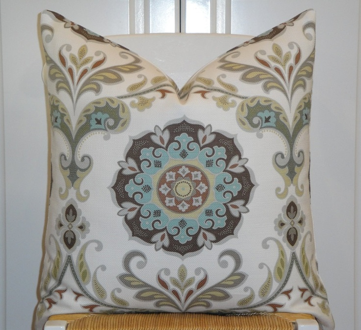 BOTH SIDES - 24 x 24 - Suzani Decorative Pillow Cover - Aqua Blue - Grey - Brown - Pale Yellow ...