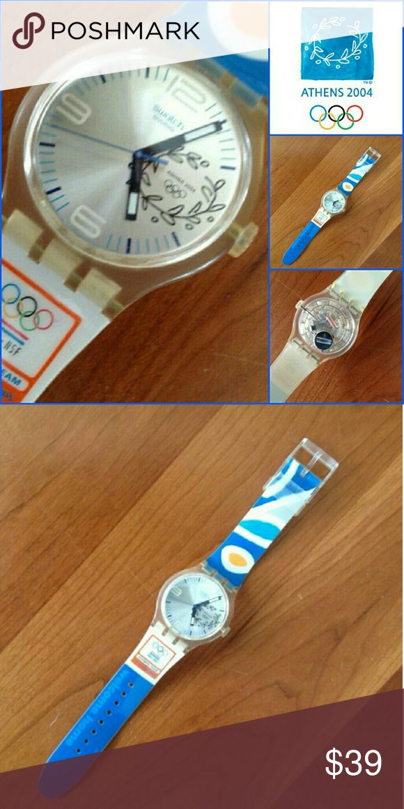 Olympic Swatch Watch 2004 !Limited edition of 900! -- 450 given to the Dutch Olympic team members and 450 for a special release.  Beautiful watch with strong bands. Sold without a battery or case.  Look at the band --Nederlands Olympisch Comité * Nederlandse Sport Federatie is NOC*NSF. Non-smoking and pet free home. Swatch Other