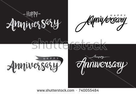 Happy Anniversary lettering text banner. Vector illustration, Vector set