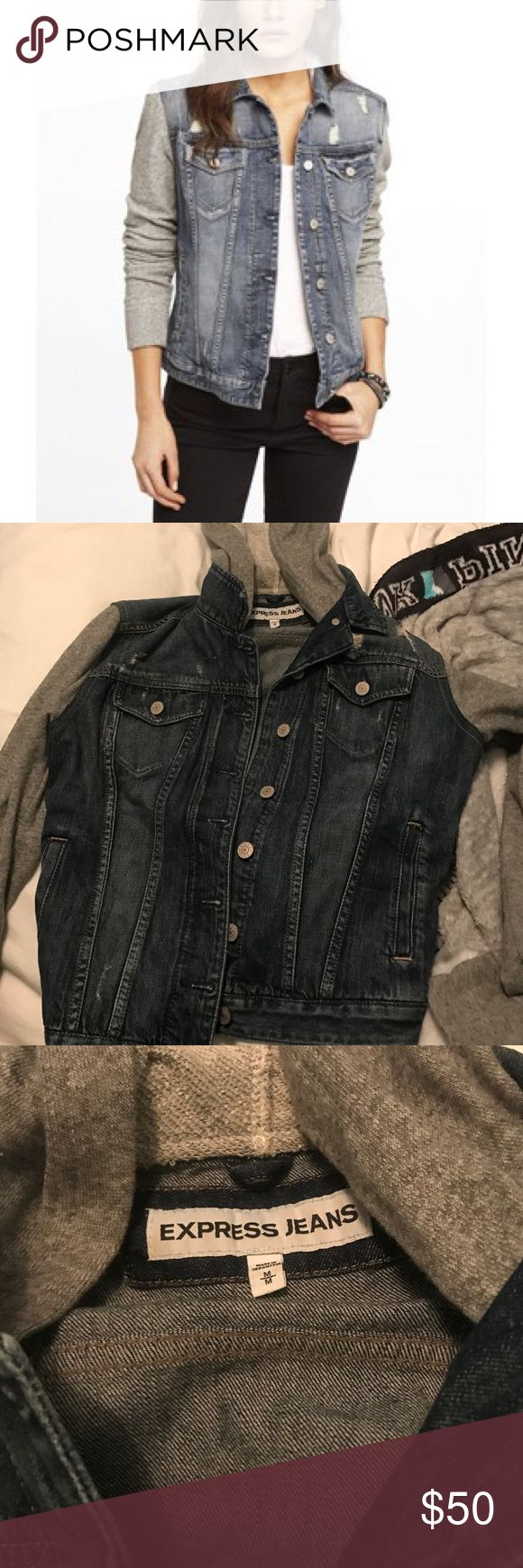 Express Jean Jacket Hoodie - NWOT I bought this when i was pregnant assuming i would wear it. I cut the tags off and it's been in my closet since.    ✔ Clean ✔Smoke Free Home ✖TRADES ✖PAYPAL Express Jackets & Coats Jean Jackets