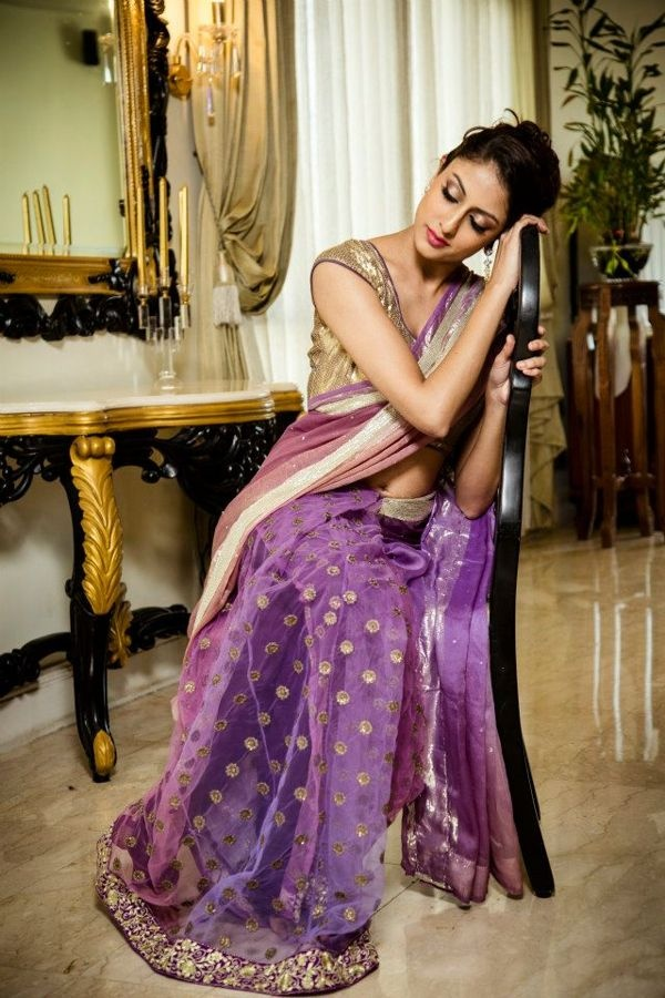 Purple Polka Dot #Saree With Gold #Blouse.