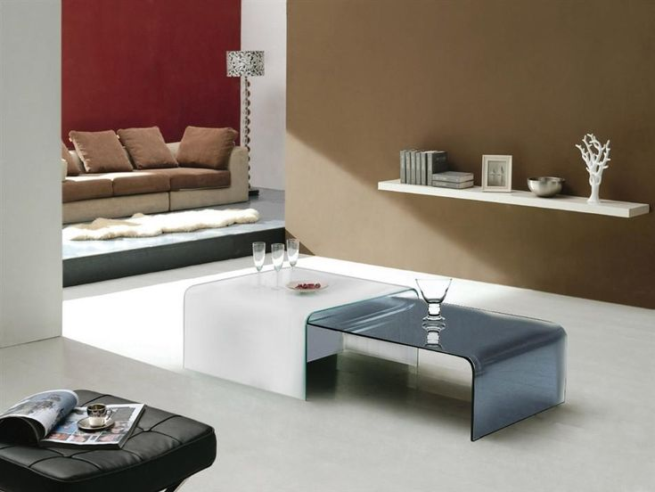 Casabianca ERA White Glass w Mirrored Glass Coffee Table