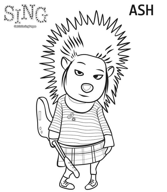 Ash Sing Coloring Page Sing Movie Coloring Pages Cartoon