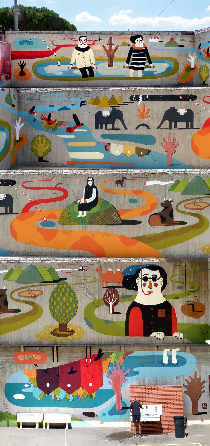 """Punti di Fuga by Agostino Iacurci. Murals made for Rebibbia on the Wall project. Created in collaboration with a group of 15 inmates on the courtyard walk's walls, in the """"Maximum security"""" unit of Rebibbia prison. Curated by Walls."""