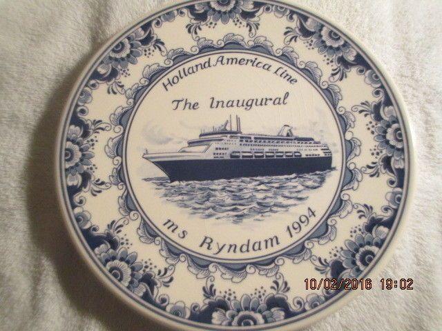"RARE Delft 10"" Plate Commemorating Inaugural Ms Ryndam Holland America Line 1994 - $29.95 | I paid $4.30."