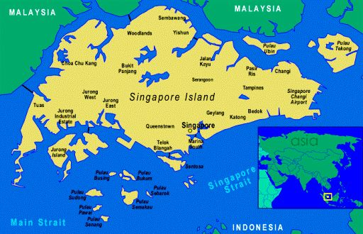 Map of Singapore and its small islands