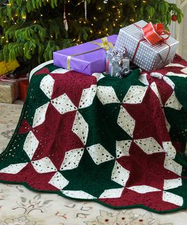 Christmas star throw: free pattern from red heart
