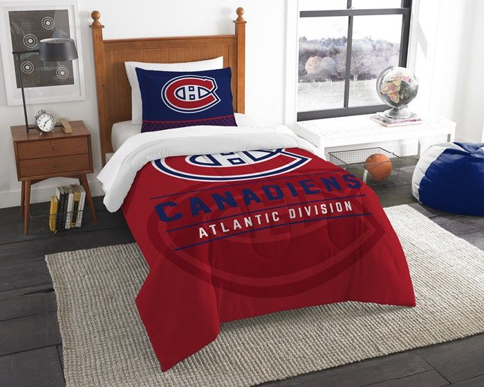 Montreal Canadiens NHL Draft Twin Comforter and Sham Set. Includes 1 Sham and 1 Twin Comforter. Visit SportsFansPlus.com for Details.