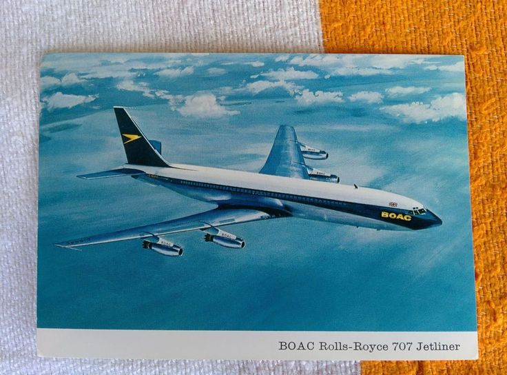 1960s Postcard Boeing BOAC Rolls-royce 707 Jetliner with 4 /Conway RCo12 Engines