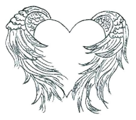 coloring pages angel heart with wings coloring pages angel wings coloring pages free printable