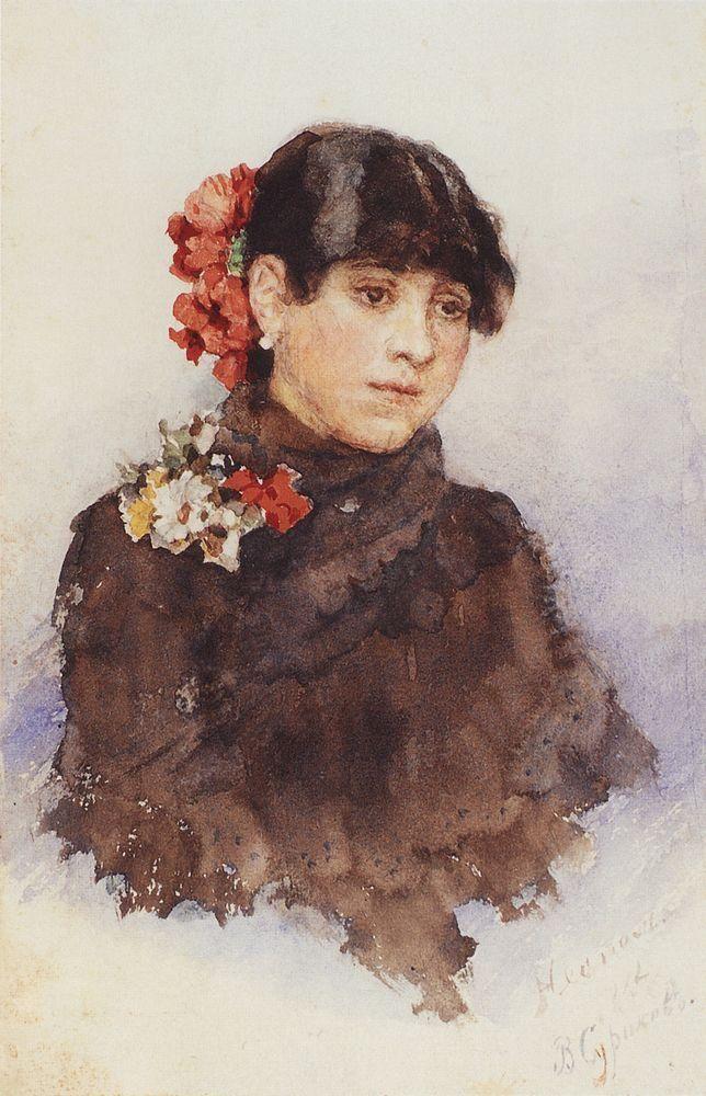 girl Василий Суриков. Галерея живописи. Неаполитанская девушка с цветами в волосах. 1883-1884