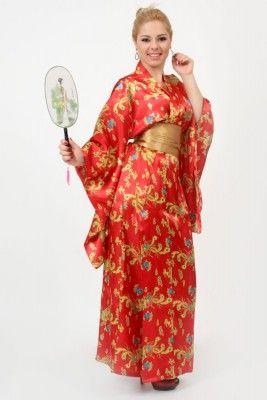 Kimono Longo Vermelho Estampa Dragão de Cetim c/ Faixa