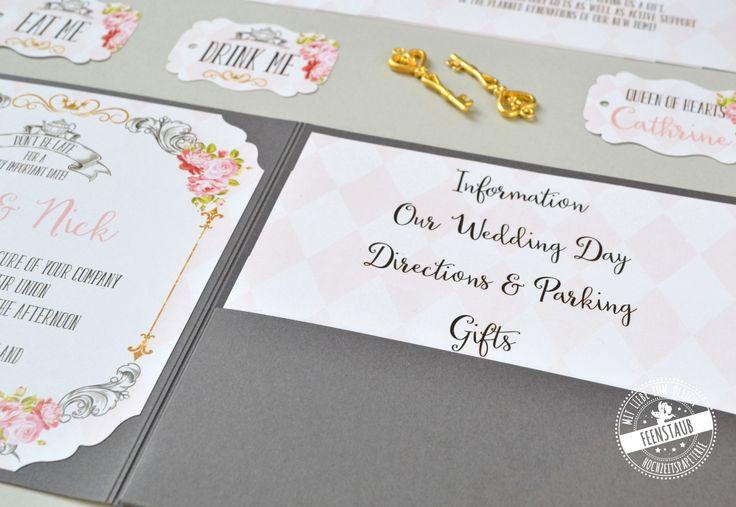 Alice im Wunderland - Teeparty - als Hochzeitsthema, Hochzeitseinladung als Pocketeinladung in Grau, Rosa, Gold mit Schlüssel - feenstaub.at