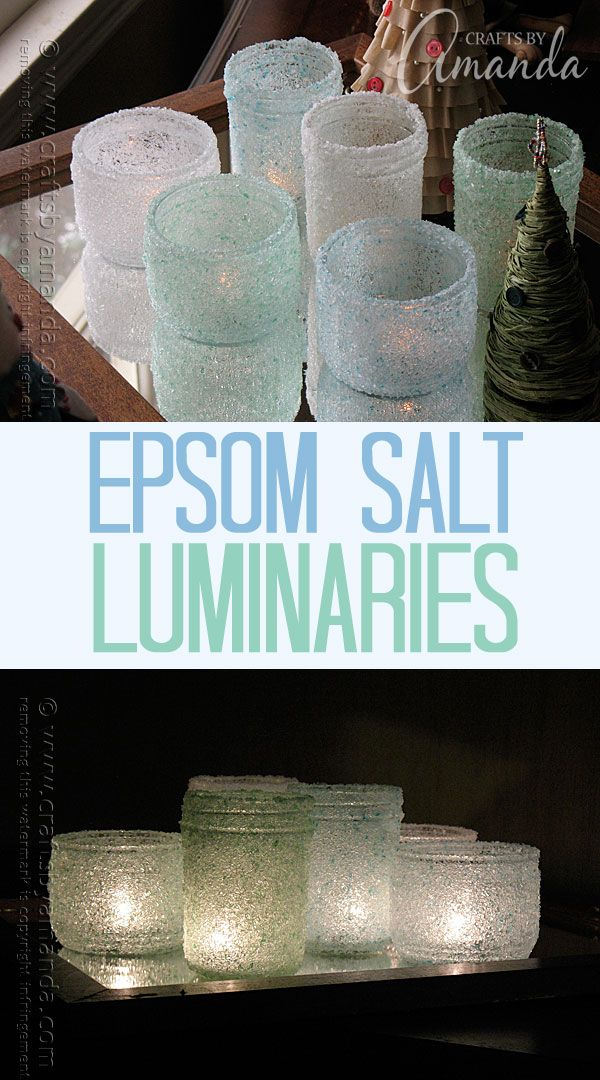 I love these gorgeous epsom salt luminaries! These would be perfect for Christmas, winter, a beachy porch or a wedding even. So beautiful!