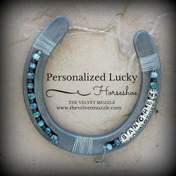 Turquoise Marble Beads  Personalized Horseshoe  by TheVelvetMuzzle