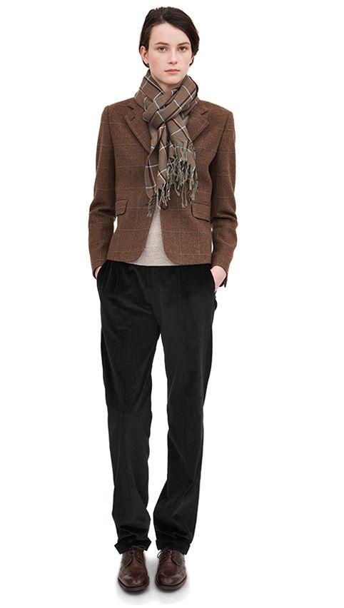 AW13 Brown wool costume jacket, natural wool button back jumper, black corduroy brace button trouser, bracken wool hand woven scarf, dark brown leather brogue