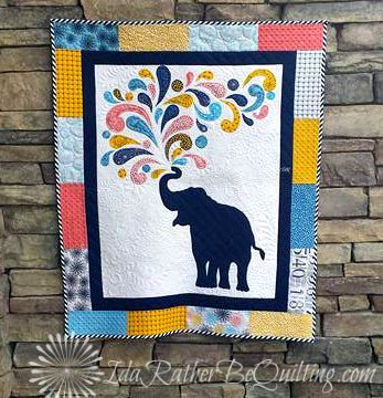 Elephant Baby quilt by Ida Rather Be Quilting