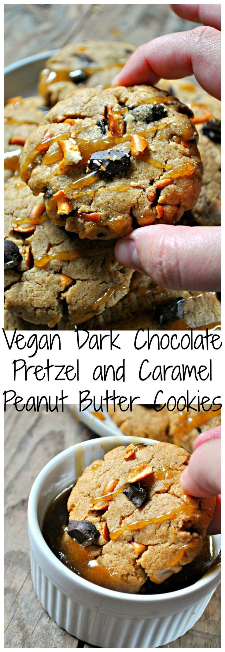 These vegan peanut butter cookies are light and fluffy studded with dark chocolate chunks and pretzels. Then drizzle with or dip into super easy vegan caramel!