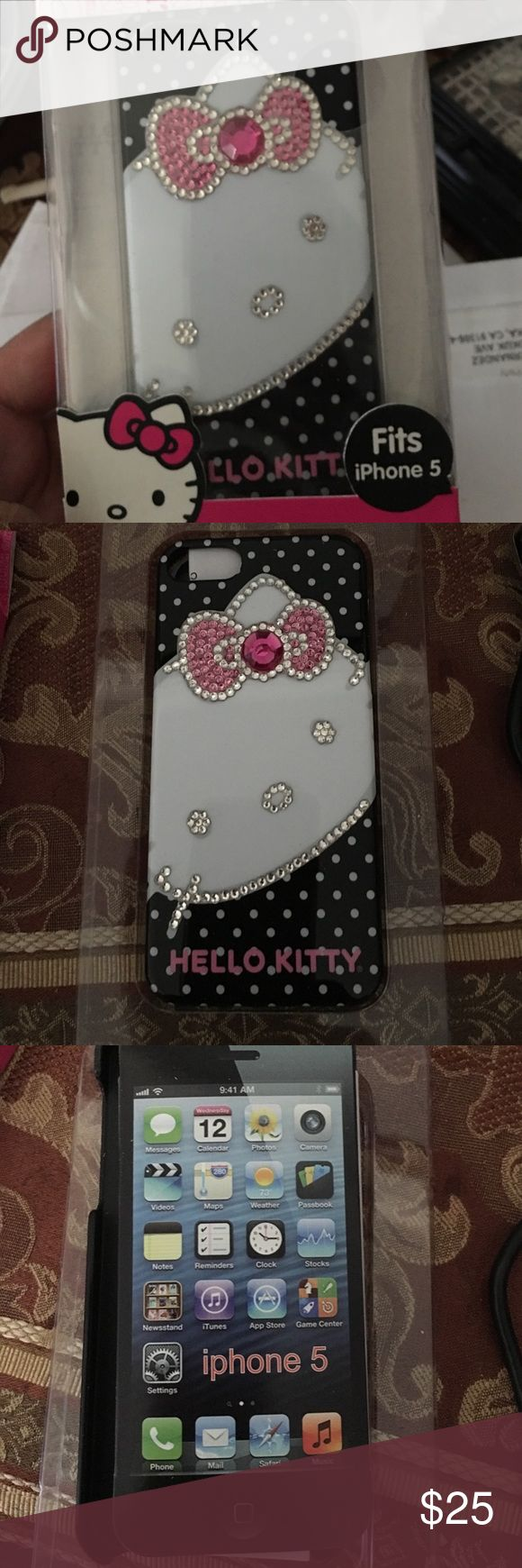 💕HELLO Kitty IPHONE 5 CASE 💕 Beautiful rhinestone hello kitty case brand new with original box Hello Kitty Accessories Phone Cases