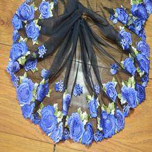 Бесплатная доставка 23 СМ Ширина (2yds/lot) черная сетка синий цветочный Вышивка Высокое качество кружевной ткани вышитые кружевной отделкой ...(China (Mainland))