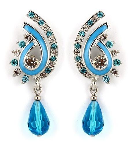 #Blue and #White Stone Studded #Earring @ $13.46 | Shop @   http://www.utsavfashion.com/store/item.aspx?icode=jvm226