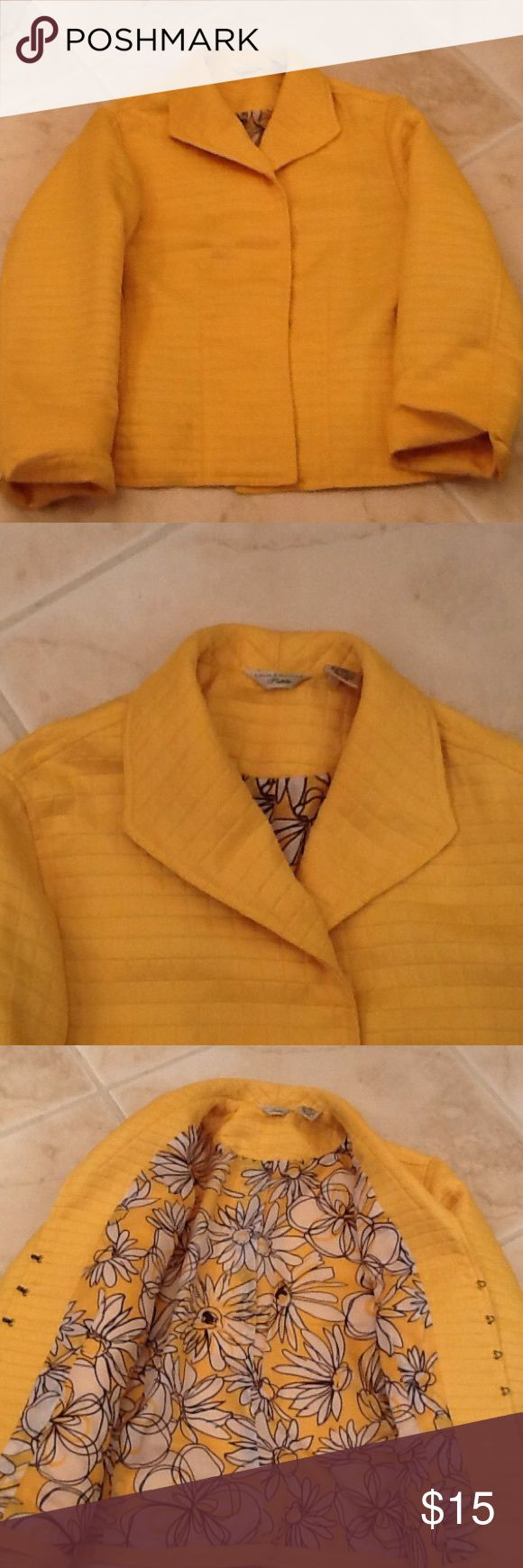 Laura Ashley Canary Yellow Preloved Jacket Bright yellow short quilted blazer or jacket. Flowered lining. Hook closures. Turn up sleeve. Laura Ashley Jackets & Coats Blazers