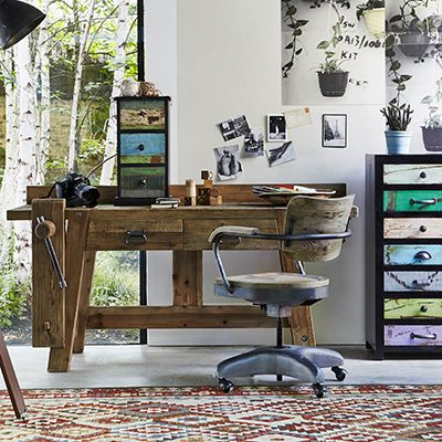 Tip #18   Desks   Your home office or study can be stylish as well as functional with the addition of a vintage or vintage-style desk lamp, industrial desk and reclaimed furniture and storage   The Jorge workbench desk from Barker & Stonehouse is quirky yet practical, giving a playful nod to the humble and sturdy workbench while incorporating useful spacious drawers.