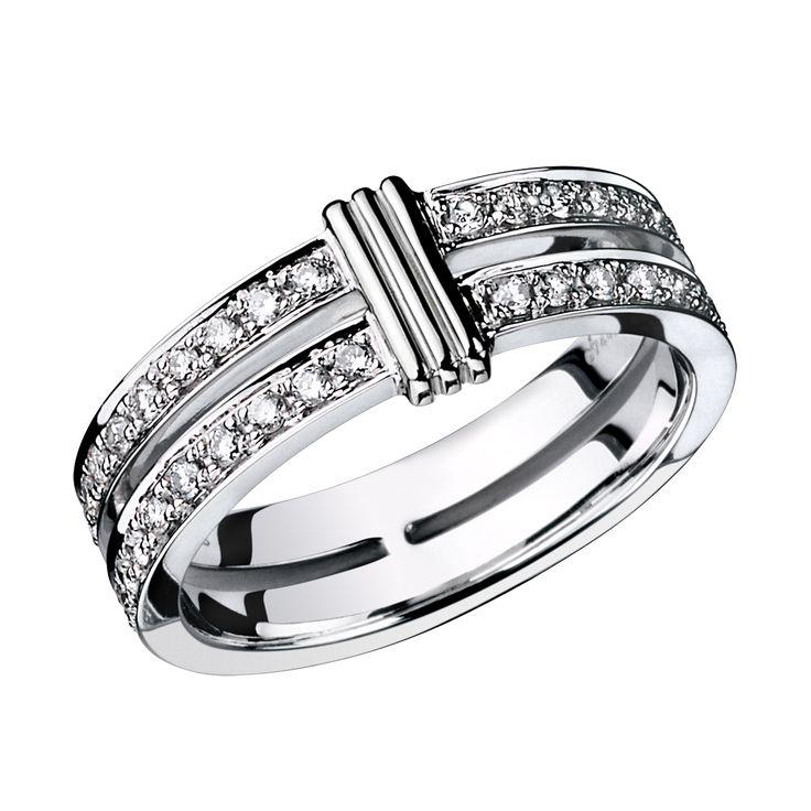 Alliance Subtile Eternité, or blanc, lien en or blanc, diamants - Mauboussin Maroc