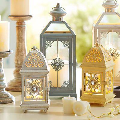 Mini Jeweled Lantern - White, yellow, gray at Pier 1 Imports