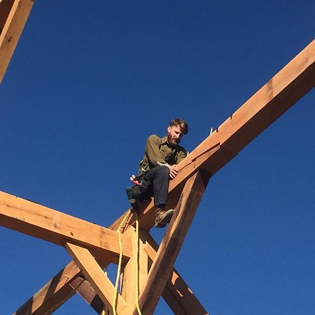 #Timberframer in his natural habitat. No acrophobia here! #timberframe  #woodworking #indianabarn #dowoodworking #aintscared #moresuncustomwoodworking
