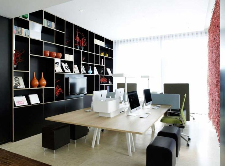 Interior Design Office with wooden cabinet and wooden table