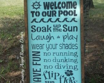 WELCOME to our POOL Rustic distressed Typography/Subway wood sign Outdoor Sign, Deck Sign, Cabin, Cottage, Backyard Sign, Swimming Pool Sign