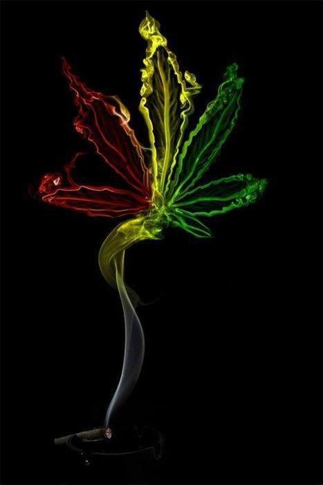 Colorful weed smoke