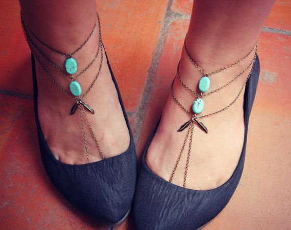 feather and turquoise slave anklet set, barefoot sandals, ankle bracelet, turquoise jewelry, turquoise accessory