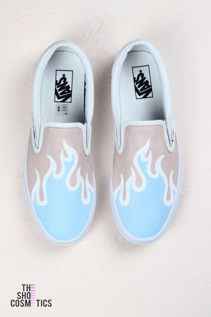 Blue fire Vans ziehen benutzerdefinierte Sneakers an