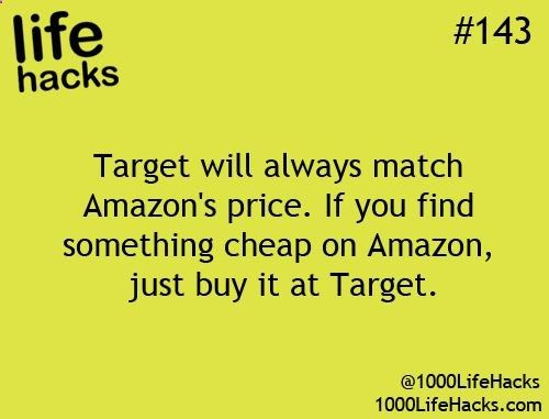 I double-checked this and it's true! The item on Amazon MUST be being sold by Amazon though-- no third-party sellers. Target also price matches Toys R Us, Best Buy, and Babies R Us! I edited the source so you can click on this pin and read the Target Price Match policy on their website. :)