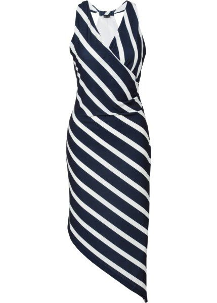 Асимметричное платье (клубничный/белый в полоску)