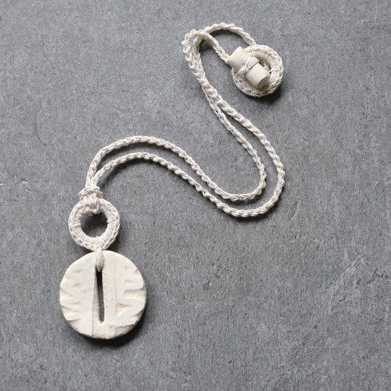 White ceramic pendant unique necklace by AliquidTextileJewels