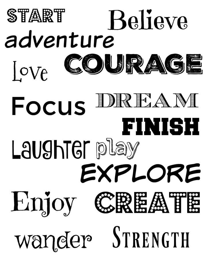 Inspirational Words: Free Printable Inspirational Words For Vision Boards