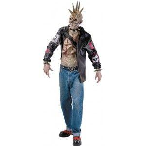 Déguisement punk zombie homme avec masque zombie punk, Halloween