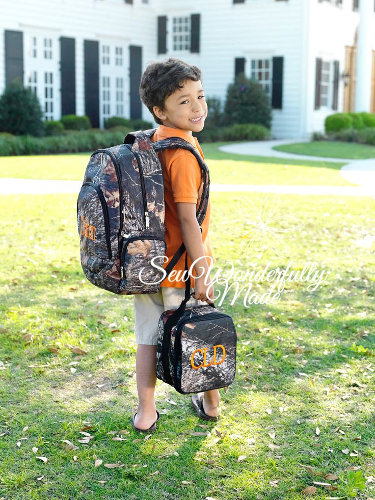 Camo Monogrammed Backpack - Boys Lunch Box - Camo Gym Bag - Personalized - Back To School - Camo - Boys Backpack - Embroidered - School by SewWonderfullyMade4U on Etsy