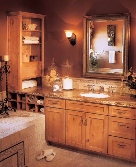 Rustic alder in a honey stain is an unexpected choice yet - Furniture looking bathroom vanities ...