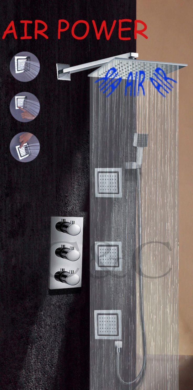 Banho chuvas torneira chuveiro válvula termostática massagem hidromassagem chuveiro quadrado 10 polegada tecnologia Air Drop alishoppbrasil
