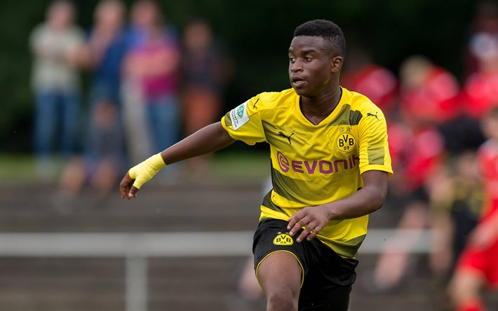 Download wallpapers Youssoufa Moukoko, Borussia Dortmund, soccer, footballers, BVB, match, Bundesliga